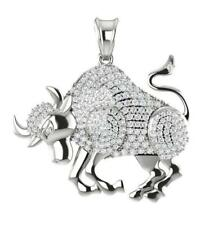 Taurus Zodiac Sign Pendant Necklace I1/G 0.75Ct Natural Diamond 14Kt Solid Gold