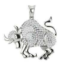 Taurus Zodiac Sign Pendant Necklace 0.75Ct Natural Diamond 14Kt Solid White Gold