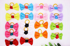 New Pet Dog Hair Bows pairs Rubber Band Solid Double Bows Grooming bows Topknot