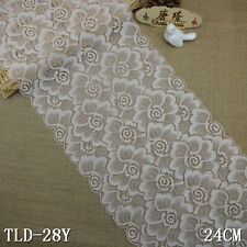 "1yd 9.4"" beige Floral stretch Lace Fabric wedding bridal Decor sewing doll L2920"