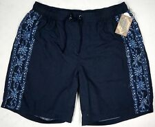 NWT $55 Caribbean Roundtree & Yorke Swim Suit Trunks Men 1X Navy Blue Floral NEW