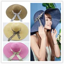 New Women's Lady Wide Large Brim Summer Beach Straw Sun Hat With cap ribbon 065