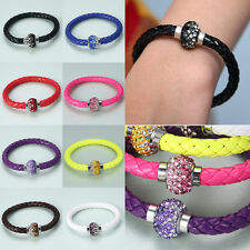 Punk Magnetic Rhinestone Bangle Buckle Bracelet NEW Leather Wrap Wristband Cuff