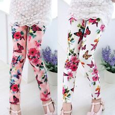 Kids Baby Girls Printing Flower Ninth Pants Tight Girls Pants Toddler Leggings