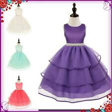 UK Purples Christening Communion Wedding Flower Girls Party Dresses AGE 3 to 12Y