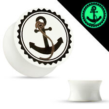 Pair Glow in the Dark Double Flared Acrylic Saddle Ear Plugs with Anchor Print