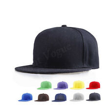 Unisex Men Women Blank Plain Snapback Hats Hip-Hop adjustable bboy Baseball Cap