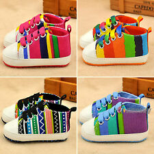 Infant Toddler Baby Kids Soft Trainer Rainbow Crib Shoes Boy Girl Sneaker 0-18M