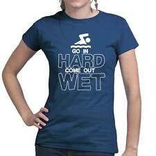 Go In Hard Swimming Pool Water Beach Funny Ladies T shirt Tee Top T-shirt
