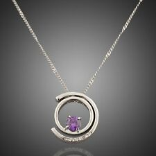 women's jewelry Platinum plated Necklace in silver Purple Crystal Rhinestones