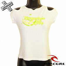 RIP CURL 'HOLE TEE' WOMENS T-SHIRT SUMMER OF LOVE WHITE SMALL UK 8 BNWT RRP £30