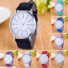 Womens Fashion Watch Stainless Steel Leather Band Quartz Analog Dail Wrist Watch