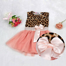 Baby Girls Leopard Printing Bowknot Pincess Dress Clothes Pink Age 2-9T tutu KID