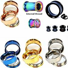 1Pair Stainless Steel Screw Ear Plugs Ear Gauges Flesh Tunnels Body Piercing