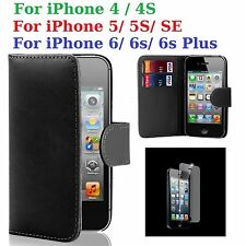 Tempered Glass + Flip Wallet Case Cover For iPhone 4/4S/ 5/5S/ SE/ 6/ 6s/ 6 Plus
