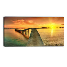 Design Art Sunset over Pier Panorama Photographic Print on Wrapped Canvas