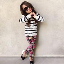 2pcs Baby Girl Outfit Clothes Stripe Long Sleeve Striped Tops Shirt+Floral Pants
