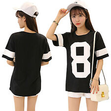 Women Summer Oversize Loose Letters Printed Short Sleeve Crew Neck T-shirt Tops