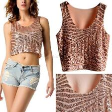 Women Sexy Sequins Vest Crop Top Tee Sleeveless Tank Blouse Tops Party Clubwear