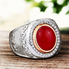 Mens Ring Silver 925 Red Agate Natural Gemstone Ring Mans 9-11 US sizes