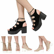 NEW WOMENS LADIES PLATFORM CUT OUT BLOCK CLEATED HEEL LACE UP SANDALS SHOES