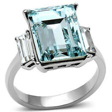 Stainless Steel 316 L Women's Radiant Cut CZ Aquamarine Fashion Ring Size 5-10