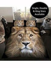 3D LION DUVET COVER & PILLOWCASE SETS AVAILABLE IN SINGLE, DOUBLE & KING BEDDING