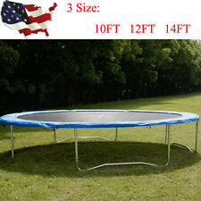 10 12 14FT Round Safety Frame Blue Pad Spring Pad Replacement Cover Trampoline