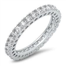 Sterling Silver CZ .925 Women's Anniversary Eternity Wedding Band Ring Size 5-10