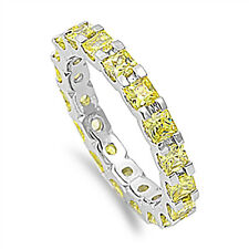 Sterling Silver 925 Womens Canary Yellow CZ Eternity Wedding Band Ring Size 5-10