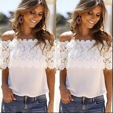 Women Fashion Lace White Crochet Off Shoulder Sleeveless T-Shirt Vest Top Blouse