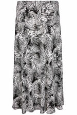 Yoursclothing Plus Size Womens Palm Print Jersey Maxi Skirt With Panel Detail