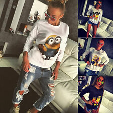 Womens Ladies Minion Print Jumper Top Sweatshirt Jumper T-shirt Pullover Blouse