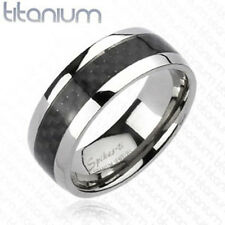 Titanium Men's 8MM Black Carbon Fiber Solid Comfort Fit Wedding Band Ring 9-13