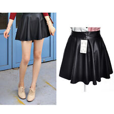 Women Lady Trendy Quality High Waist Pleated Leather Short Mini Skirts Black Hot