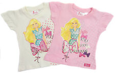 Girls Barbie T-shirt Short Sleeved Top Summer Top  Pink Or White 2Y to 8Y
