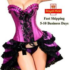 Sexy Women Purple Corset Tops Satin Lace Up Burlesque Basque Lingerie Dress UK