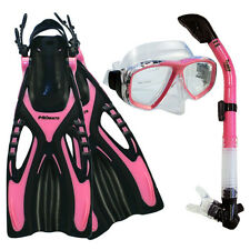 NEW Lady Dive Snorkeling Mask Dry Snorkel Fins Gear Set