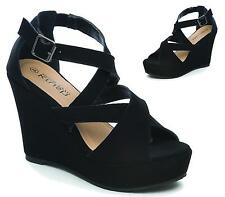 LADIES FAUX SUEDE HIGH HEELS PLATFORM WEDGE PEEP TOE STRAPPY SUMMER SANDALS SIZE