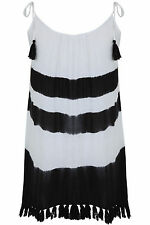 Yoursclothing Plus Size Womens Black & White Tie Dye Tunic With Fringed Tassels