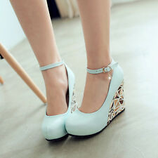 Womens Wedge High Heels Shoes Pumps Ankle Strap Court Round Toe Pumps Plus Size