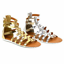 Ladies Sandals Gladiators Beach Summer Womens Shoes Size 3 4 5 6 7 8 Gold Silver