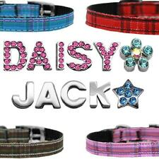 """Personalized Crystals Charms Letters Dog Collar Pet Plaid Dog Collar 3/8"""" 10mm"""