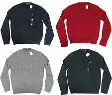 Polo Ralph Lauren Mens Cotton Cable Knit Crew Neck Pony Logo Ivy League Sweater