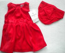 NWT CARTERS GIRLS NEWBORN & 3 MONTHS FANCY DRESS RED OR GREEN VELOUR HOLIDAY