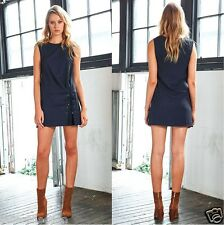 Three of Something Stopper Dress in Navy Blue with  Front Tie Lace Up TS-2600