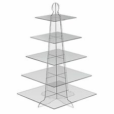 5 Tier Square Cup Cake Stand Wedding Birthday Party Acrylic Cupcake Display