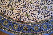 AQUA BLUE GREEN WHITE PRINTED FLORAL INDIAN COTTON ROUND TABLE CLOTH 130CM