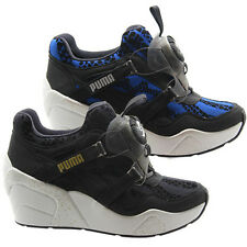 Puma Disc Wedge WR Womens Trainers Shoes No Lace Blue Black 357290