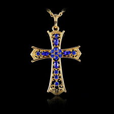 Gold Tone Cross Crystal Rhinestone Pendant Chain Sweater Long Necklace Jewelry